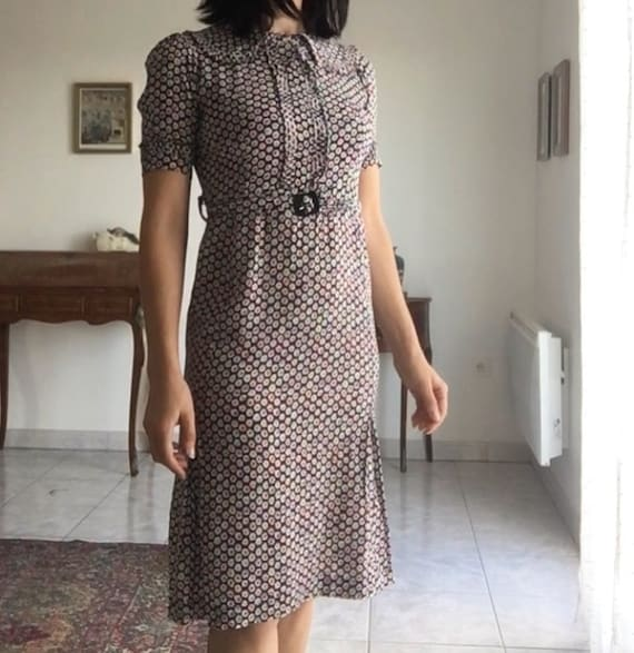1940s day dress rayon 40s 30s Xs s puff sleeves
