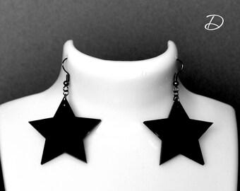 """Earrings black """"Black Star"""", Earrings black , Geometric earrings , black dress earrings , earrings black gift"""