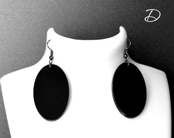 """Earrings black """" Oval """", black dangle earrings , black dress earrings , Classic Earrings , evening earrings , Geometric earrings"""