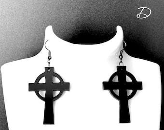 "Earrings black ""Celtic cross"", black cross earrings, black dress earrings , big black earrings, Celtic cross,"