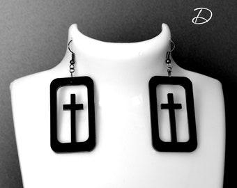"Earrings black ""Remember"", black cross earrings, black dress earrings , Dangle Black Earrings ,  black goth earrings, black large earrings"