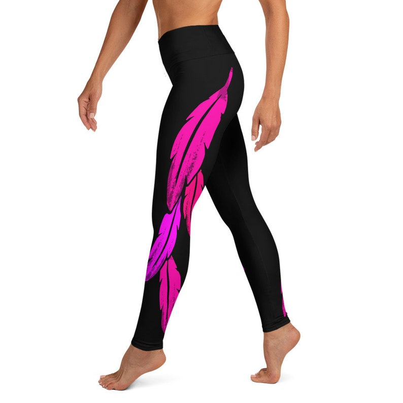 Native American Pink Feather Yoga Leggings Inside Pocket American Indian Sioux Apache Iroquois Indigenous Women Native American Clothing
