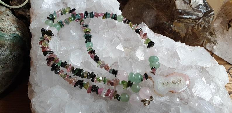 Healing Crystals /& Stones Watermelon Tourmaline Rose Quartz and Green Aventurine Necklace Mixed Tourmaline