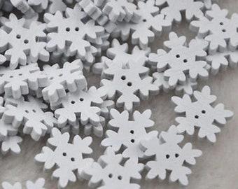 50 Snowfake buttons for sewing, craft, scrapbooking, card making