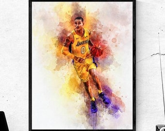 715fa4448d6a1 Kyle Kuzma NBA print poster, watercolor, handmade, home decor, gift,  digital download, art modern print, any room wall decor, printable