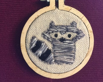 Embroidered Raccoon Pendant and Necklace - Handmade. Trash Panda!