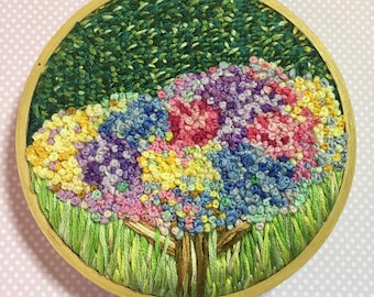 Colours of Spring - 4 inch handmade embroidery