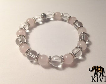 Rose quartz and rock crystal bracelet