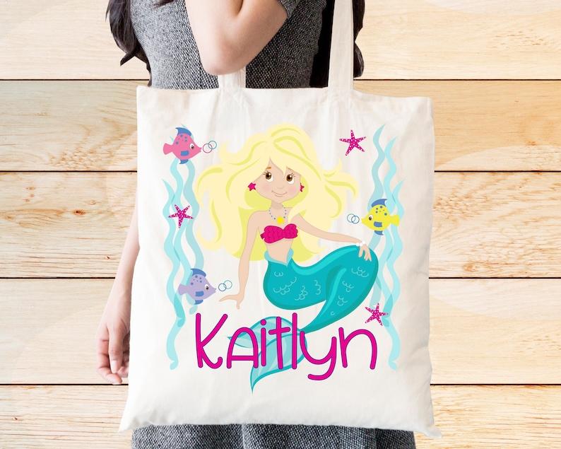 Custom Made Print With Name Personalized Mermaid Tote Bag