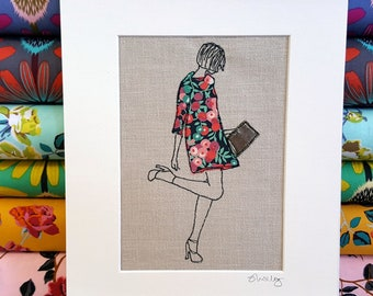Liberty Print Free Motion / Free Machine Embroidered 1960's Vintage Style Lady ~ Birthday Gift