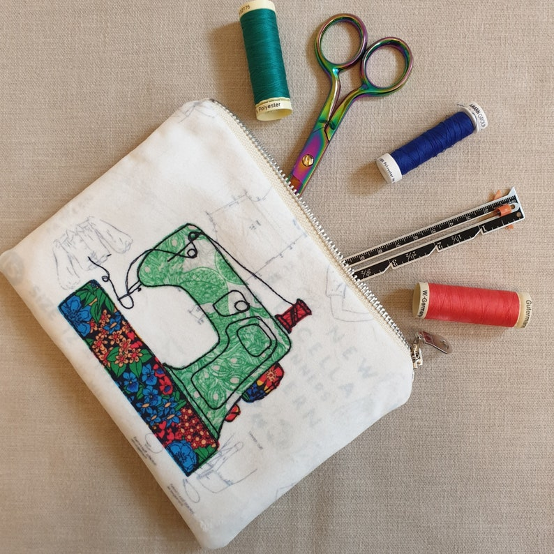 Handmade velvet sewing machine zipped bag  pouch with free motion embroidery print
