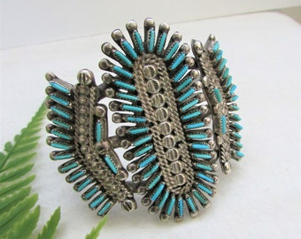 Zuni sterling silver & Turquoise needlepoint cuff bracelet-signed