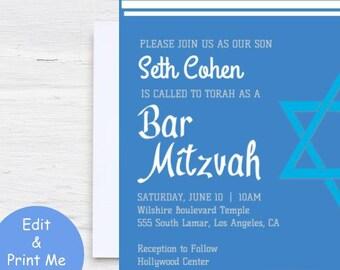 bar mitzvah invites etsy