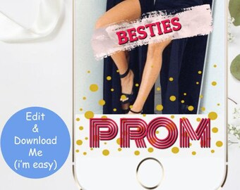 Snapchat Filter Prom, Besties GeoFilter Pink Gold, Friends Girlfriends Instant Download Editable Printable, High School Dance Best 2018 Easy
