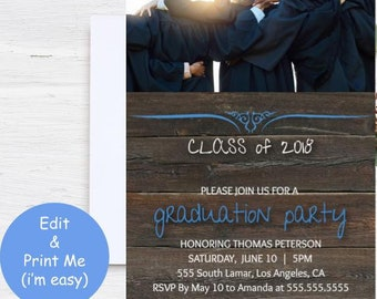 graduation party invitation boy girl announcement bbq student etsy