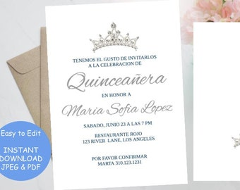 photograph about Printable Quinceanera Invitations named Quinceanera invitation spanish Etsy