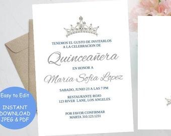 picture regarding Printable Quinceanera Invitations named Quinceanera invitation spanish Etsy