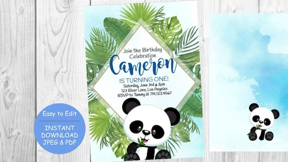Panda Leaves Watercolor Rustic Birthday Party Invitation Invite Baby One 1 Year Old Boy Kid Bday Blue Tropical Luau Any Age Instant Download