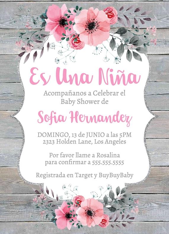 Es Una Niña Rustico Invitación Baby Shower Invitation Template Fiesta De Bebe Nena Flores Rosa Moderna Instant Download Editable Printable