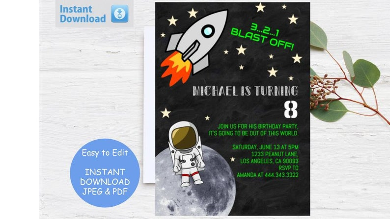 Birthday Party Invitation Space Nasa Moon Spaceman Rocket Astronaut Print Invite Boy Blast Off Teen Bday Custom Star Instant Download Edit