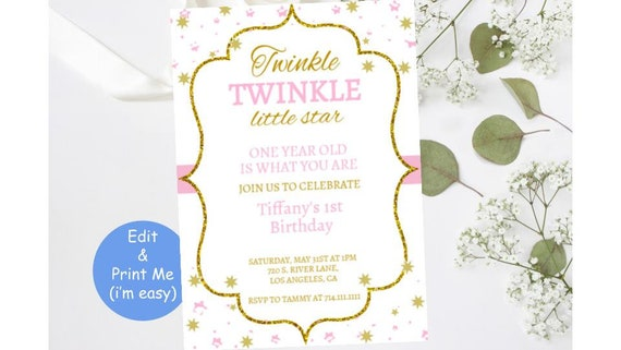 First 1st Birthday Bday Kid Invitation Twinkle Little Star