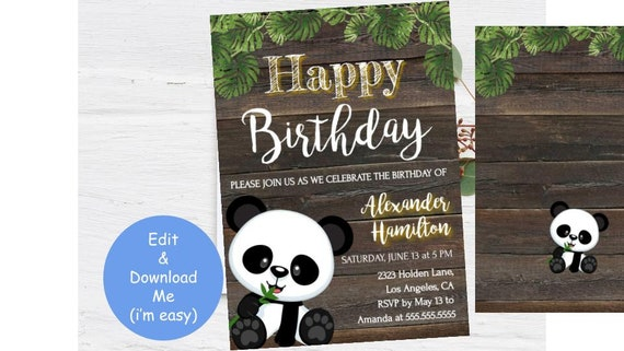 Panda Birthday Party Invitation Template Rustic Invite