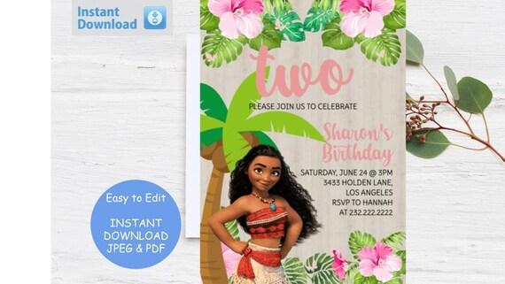 Moana Invitation Tropical Invitation Luau Girls Party moana birthday Hawaii invitation Luau theme girls Aloha Invitations Printable