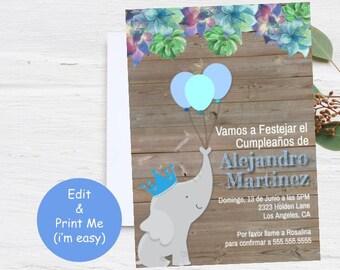 Niño Feliz Cumpleaños, Elefante Cumple Invitacion Invitation, Birthday Boy Template, Rey Corona Globos, Elephant King, INSTANT DOWNLOAD EDIT