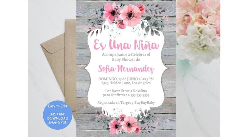 Es Una Nina Rustico Invitacion Baby Shower Invitation Etsy