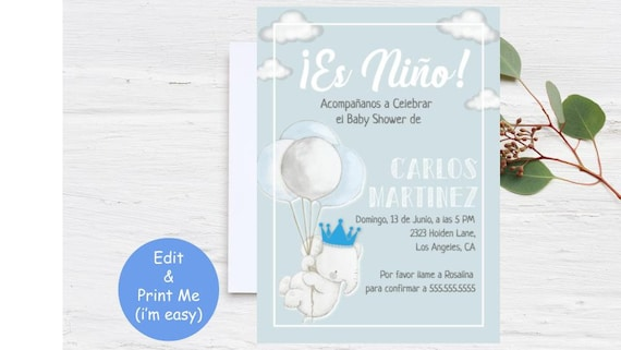 Es Niño Invitación Baby Shower Invite Template King Crown Etsy