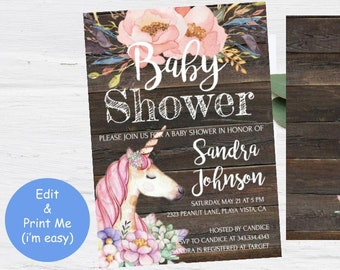Unicorn Baby Shower Invitation, Girl Rustic Florals Pink Invite, Instant Download printable, Wood Modern Watercolor Flowers Purple Card Edit