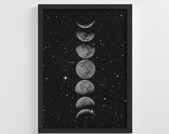 Moon Phases Wall Art Etsy