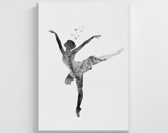 Dance canvas art etsy dancing ballerina silhouette dream watercolor print large canvas illustration art print home wall art nursery decor perfect gift ic47 stopboris Image collections