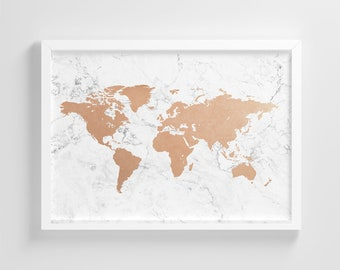 World map etsy white marble world map frameless poster illustration art print stylish home decoration wall art nursery decor living room ic70 gumiabroncs Image collections