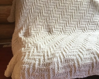 White knitted plaid Handmade