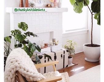 Chunky Knit Blankets & Throws   Handmade 100% Merino Wool, Acrylic Blankets