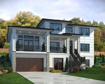 15 0227 Narrow Two Story Side Load Garage Plan Etsy