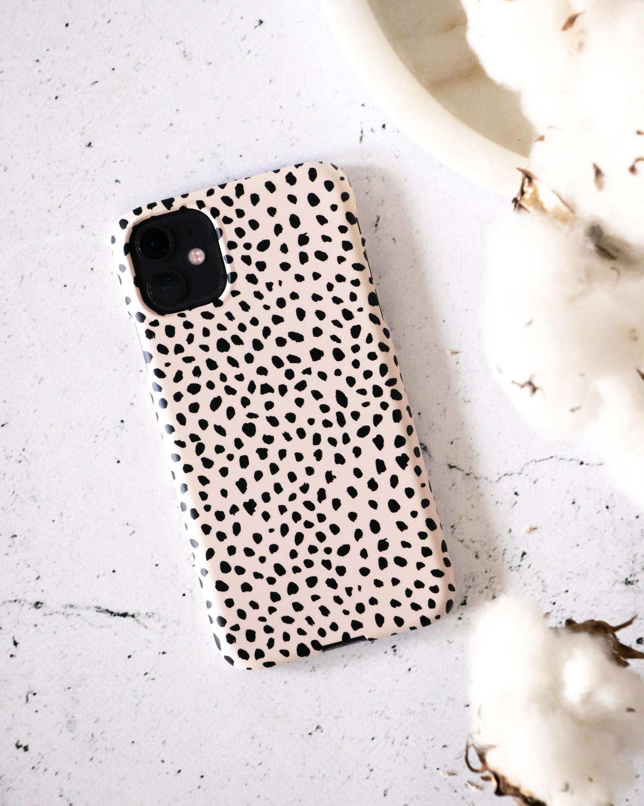 Black Spots on Beige iPhone Case, Irregular Polka Dots Phone Case, Animal  Cheetah Print, Chic Nude Samsung Galaxy Case, Google Pixel Case