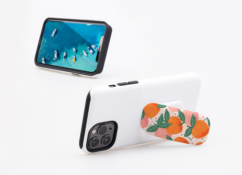 Pretty Pastel Summer Fruit Phone Stand Stick on Phone Grip Socket Universal Phone Ring Holder Peaches Finger Holder