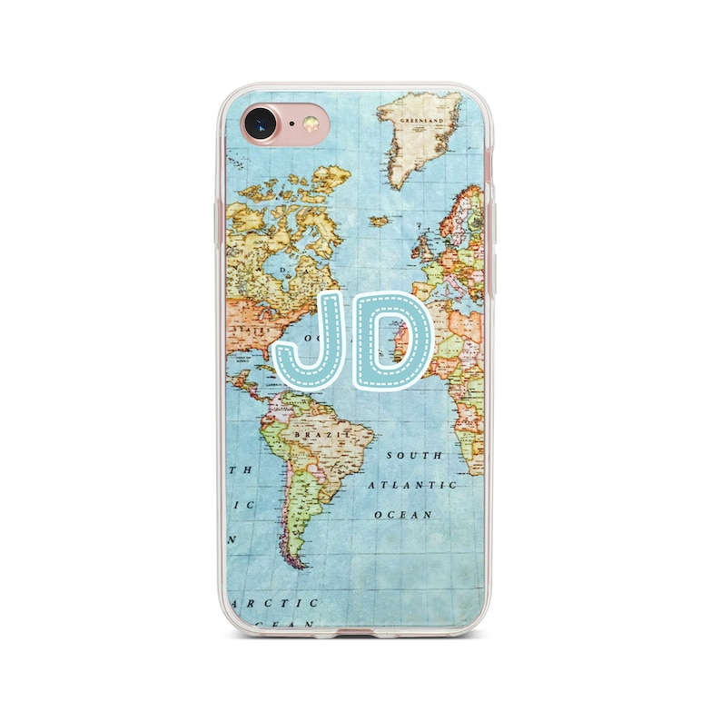 big sale 308d7 30ee1 Custom Initial iPhone Case Name World Map Atlas Phone Case Travel Monogram  iPhone X XR XS Max Case iPhone 6 7 8 Plus Clear Samsung Galaxy