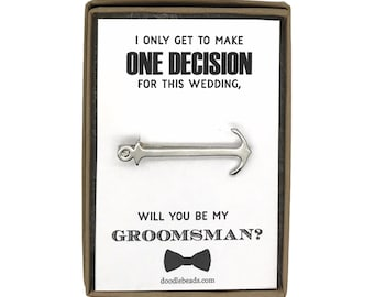 Best Man Proposal Gift, Silver Anchor Tie Bar with card,  I only get to make one Decision for this wedding, Will you be my Best Man?