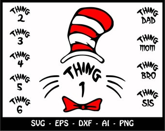 cat in the hat thing 1 svg Dr Seuss thing 1 Svg dr. seuss monogram svg thing dad mom bro sis svg files files for cricut silhouette svg