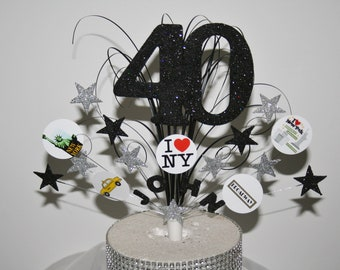 New York Glittered Cake Topper Spray Decoration Birthday 18th 21st 30th 50th 60th Any Age Colour Theme Personalised