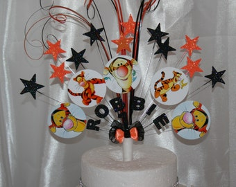 Tigger Glittered Cake Topper Spray Decoration Birthday 3rd 4th 5th 6th 7th 8th 9th 10th 11th 12th Any Age Colour Theme