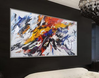"""Extra Large Abstract painting Colorful Contemporary Original Wall Art Heavy Textured Palette Knife Handmade Modern canvas Art 72"""" 180cm XL"""