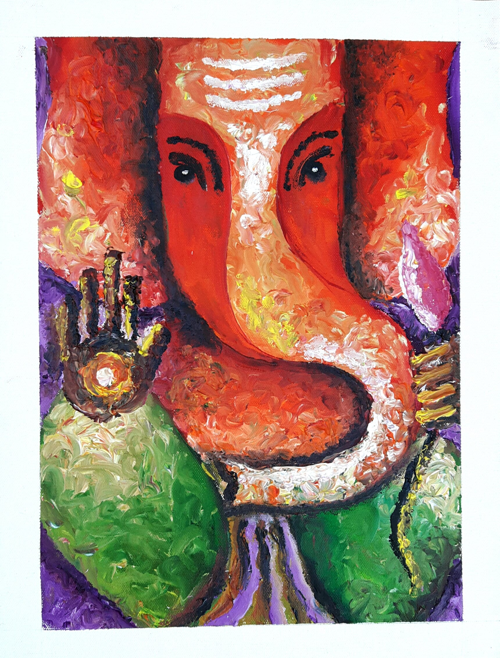 Ganesha Abstract Oil Painting | Ganesha Finger Painting | Indian  Contemporary art | Abstract Home Decor Wall Art | Original Oil Painting