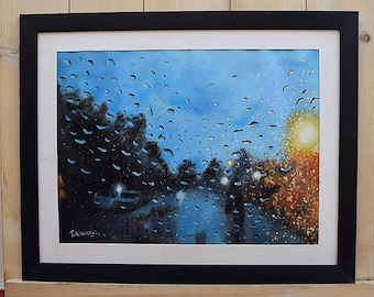 Raindrops Painting : Original oil painting. Waterdrops Painting home decor, Wall art home interior, gift ideas. Nature oil painting