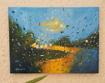 Raindrop Painting : Original oil painting. Wall decor nature painting. Home interior decor waterdrops painting. Nature oil painting