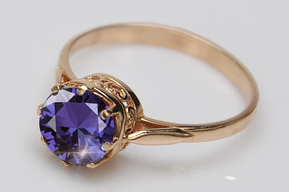 Russian Alexandrite Ring 14K Rose Gold /& Silver Stone Changes Color Russian Ring Christmas Alexandrite Ring Russian Jewelry