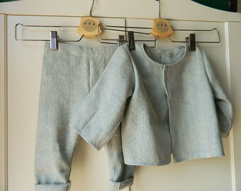 Complete baby in blue linen, baby set in soft linen, trousers and jacket for boy, coordinated for ceremony in linen, vegan
